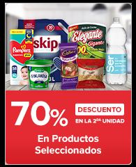 Segundo al 70% en productos seleccionados