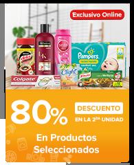 Segundo al 80% en productos seleccionados